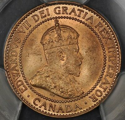 1910 Pcgs Ms64+Rd Canada Large Cent Landon Collection