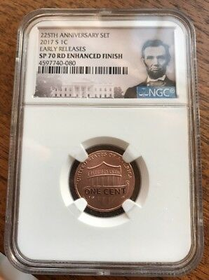2017-S 225th Anniversary Enhanced Finish Lincoln Penny NGC SP70RD ER