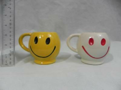 Lot of 2 McCOY vtg 70's Smiley Face Mugs Cups White/Red Yellow/Black USA Ceramic