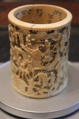 19Th Century Chinese Canton Handmade Brush Pot
