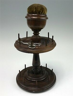 Antique Turned Wood Sewing Thread Spool Holder w/ Pincushion & Stork Scissors