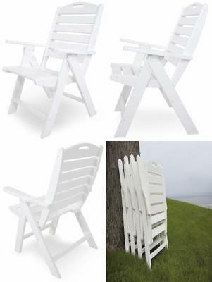 POLY-WOOD NCH38WH Nautical Highback Chair, White