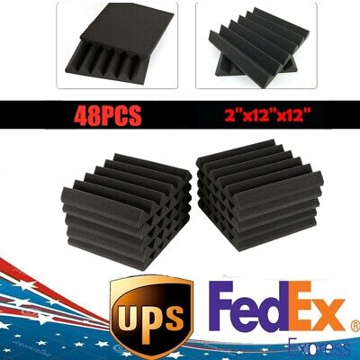 """48 Pack Sound Absorber Acoustic Panels Studio Foam Wedge 12"""" X 12"""" Soundproofing"""