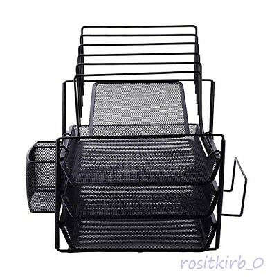 All-in-One Black Wire Mesh Desk Organizer Easy to Install Space-saving