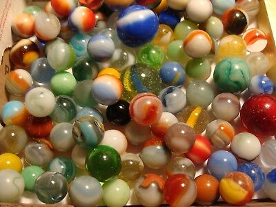 100 Used Antique Vintage Marbles Collect Old Time Display Arts Crafts Toys #900