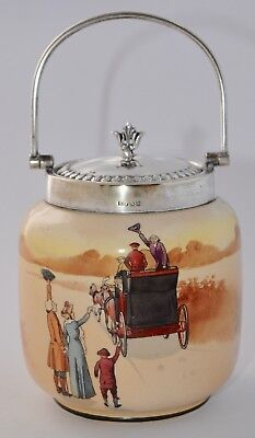 Rare! Vintage Royal Doulton COACHING DAYS Tea Caddy / Small Biscuit Barrel