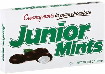 JUNIOR MINTS PEPPERMINT DARK CHOCOLATE LOLLY CANDY SNACK FOOD 99g BOX