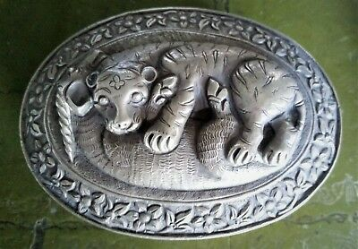 Persian Silver Trinket Box with Lion and Antelope