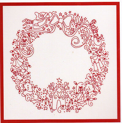 Christmas Treasures Wreath -stitchery KIT with linen and floss - Rosalie Quinlan