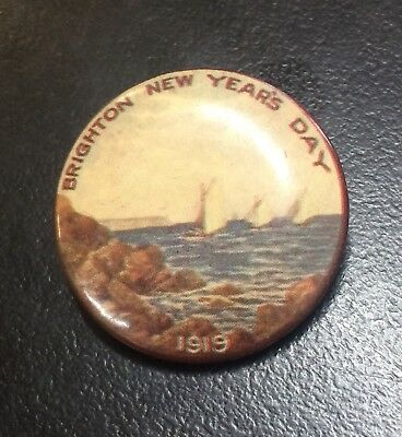 Brighton New Year's Day 1919 Button Badge Sailing Ships