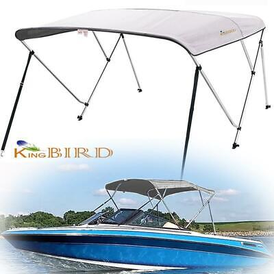 """3 Bow Boat Bimini Top Cover Boat Canopy Shade with Support Pole Boot Grey 61-66"""""""