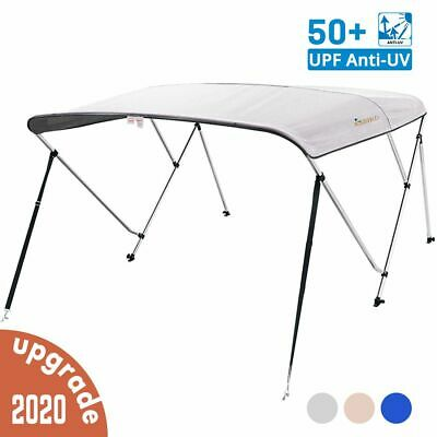 """3 Bow Boat Bimini Top Cover Boat Canopy Shade with Support Pole Boot Grey 67-72"""""""