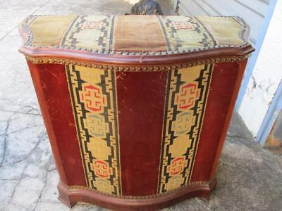 Antique Wooden Hamper With Original Upholstery Linen Box Basket Laundry Clothes