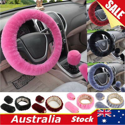 3Pcs/Set Soft Steering Wheel Cover Fuzzy Wool Plush Car Winter Warmer Pink Red