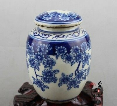 China Old Exquisite Blue and White Porcelain Painting 囍 flower Pot jar