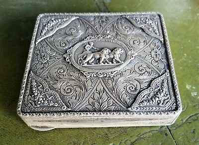 Antique European Silver 900 Box with Chariot pulled by 2 Lions