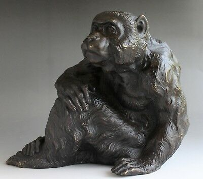 Japanese Antique Vintage Bronze Monkey statue Okimono Great detail 3844g (8.5lb)