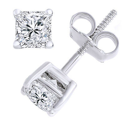 3.0 ct Simulated Princess Cut Solitaire Stud Earrings Screw Back 14k White Gold