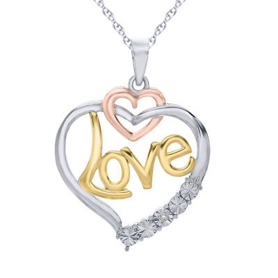 14K Two-Tone Gold over Sterling Silver 'Love' Heart Pendant with Diamond