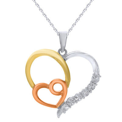 14K Two-Tone Gold over Sterling Silver Heart Pendant with Diamond