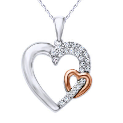 "Sterling Silver and 14K Rose Gold Over 1/5 ct Diamond Heart Pendant 18"" Chain"