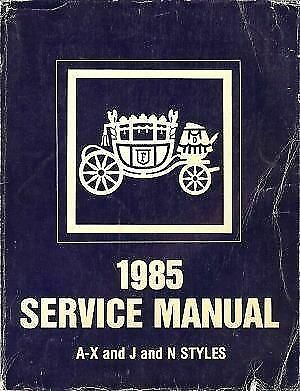 1985 FISHER CADILLAC BODYSHOP Manual B C D E G K AND J  STYLE