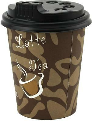 DISPOSABLE COFFEE TEA CUP 8OZ 250ML TAKEAWAY PAPER DOUBLE WALL TAKE AWAY w/ LID
