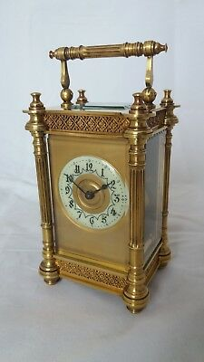 Antique late 19th Century French brass carriage clock timepiece.