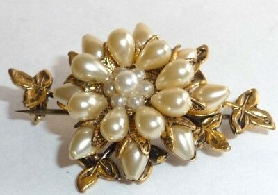 Antique,Salt Water Pearl Cabochon Shaped, Pin, Gold Color Backing, Very Unique.