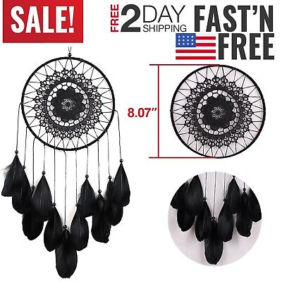 Black Dream Catcher Small with Feathers and Hanging String Handmade Decoration