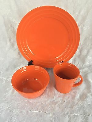 RACHAEL RAY Double Ridge Orange Dinner Plate Cereal Bowl & Mug 3 Pcs ...