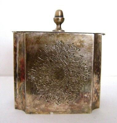 Antique Plated Silver (?)  Metallic Tea Caddy - Marked Claridge D 87