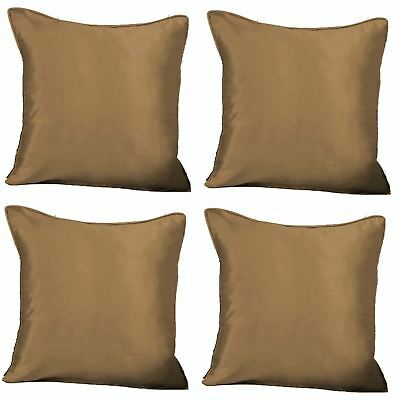 "4 x Faux Silk Plain Cushion Cover Soft Satin Covers 43x43cm, 17x17"", Latte"