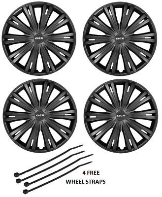 Peugeot 306 307 Wheel Trim Hub Caps Plastic Covers Full Set Black 15