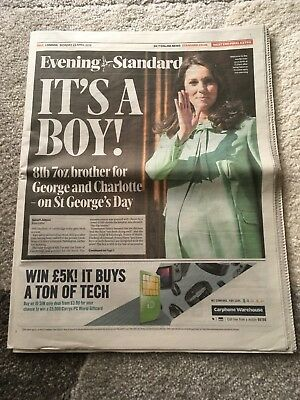 Evening Standard Royal Baby 23 April 2018 Kate Middleton 1St Ed Rare Newspaper