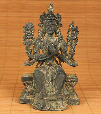Ancient Chinese Old Bronze Handmade Casting Kwan-yin Statue Figure