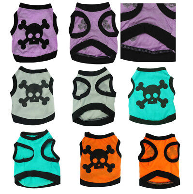 Skull Pattern Pet Clothes Dog Polo Shirt Cat Poodle Puppy Dachshund Maltese Vest