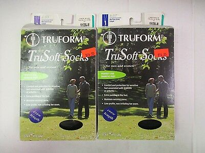 2 TRUFORM LEG HEALTH TRUSOFT SOCKS 8-15 mmHg - MEDIUM BLACK - EW 5969J
