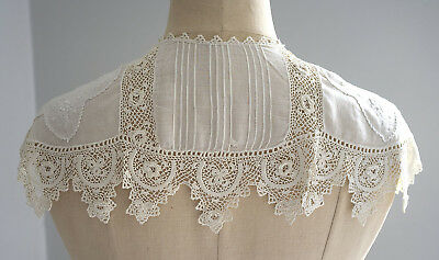 Antique white whitework and Irish crochet lace collar.