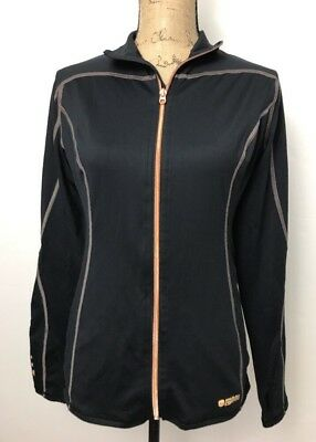 Tommie Copper Womens Performance Black LS Small Jacket Shirt Full Zip ThumbHole