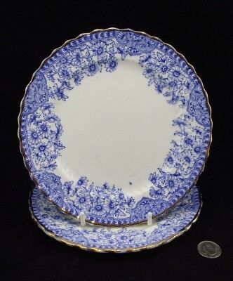 """2 Antique Blue And White Dresden 8"""" Plate With Rd # 186085  S.s."""
