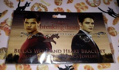 Twilight Breaking Dawn Bella's Wolf and Heart Bracelet prop replica