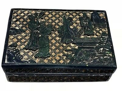 Antique Chinese Carved Black Cinnebar Box w/ Figures, Women & Scholar or Priest