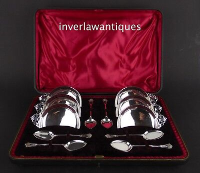 ANTIQUE SILVER SET ICE CREAM DISHES SPOONS 374g