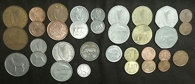 33 IRELAND Irish Coins Lot 1928 & later 19 Types Old GOOD LUCK Of The Eire Money