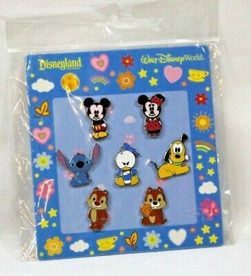 Disney Parks Trading 7 CUTIE Pin Set STITCH Donald PLUTO Mickey Minnie CHIP DALE