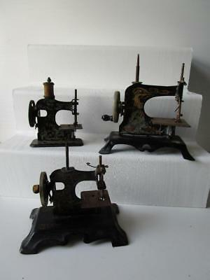 Antique 3 Metal Hand Cranked Child's Sewing Machines - To restore - Casige Style