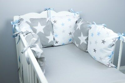 PILLOW BUMPER COT / COT BED BUMPER made from 6 cushions GREY STARS soft pillows