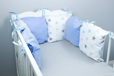 PILLOW BUMPER COT / COT BED BUMPER made from 6 cushions BLUE STARS soft pillows