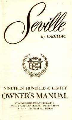 1980 Cadillac SEVILLE  Owner's manual *
